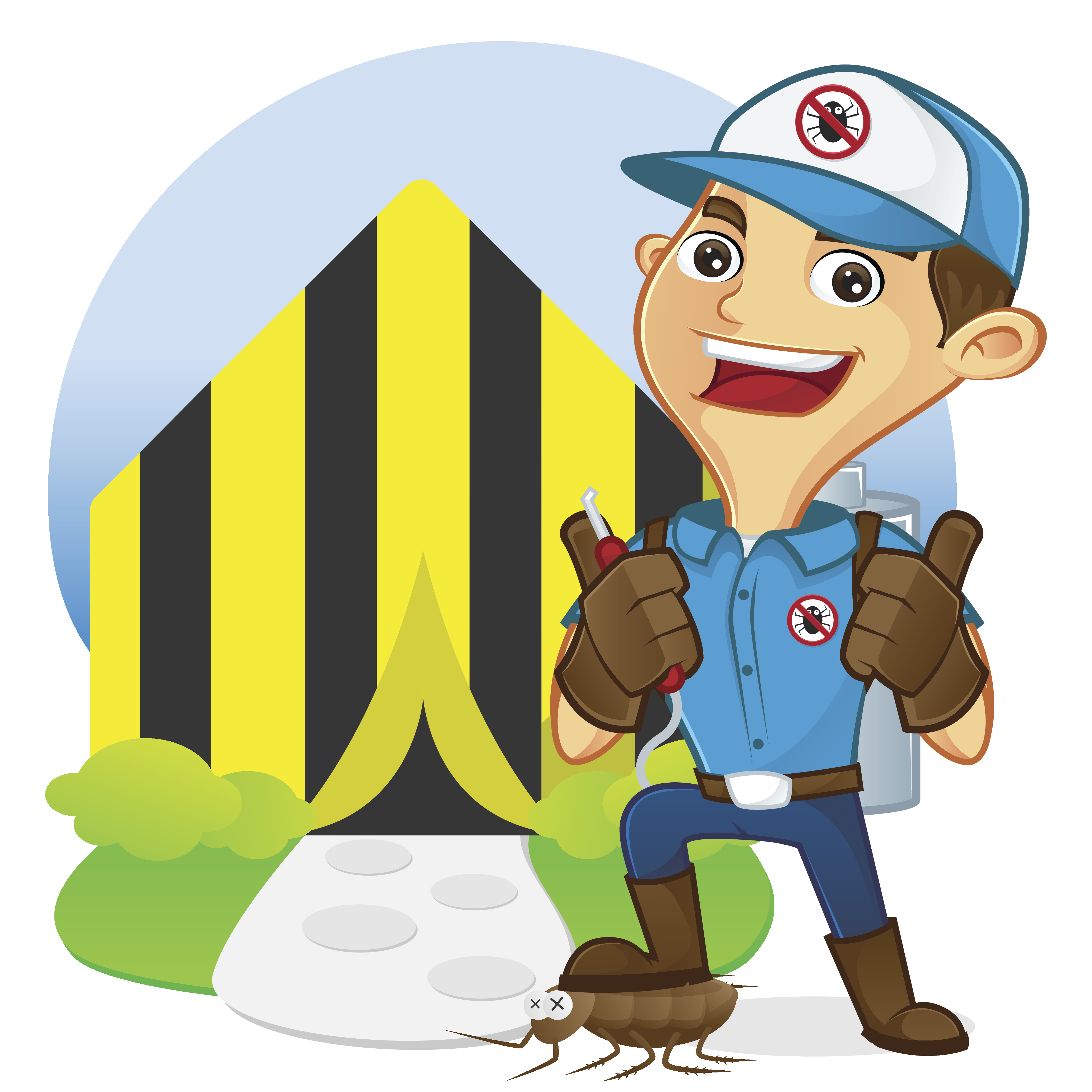 Exterminator in front of tenting home isolated in white background